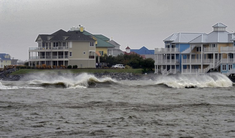 Waves crest just south of U.S. Route 50, Ocean Gateway, in a view looking at West Ocean City. Hurricane Sandy, still hundreds of miles from Ocean City, has yet to actually impact the mid-Atlantic states. (Karl Merton Ferron/Baltimore Sun)