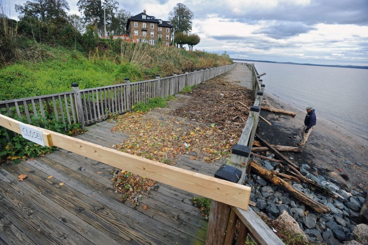 Debris washed up during Hurricane Sandy caused the closure of the promenade at Tydings Memorial Park in Havre de Grace. (Kenneth K. Lam/Baltimore Sun)