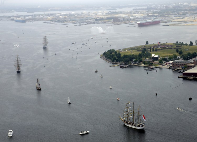 Tall ships depart the Inner Harbor ending the Star Spangled Sailabration on June 20, 2012. (Algerina Perna/Baltimore Sun)