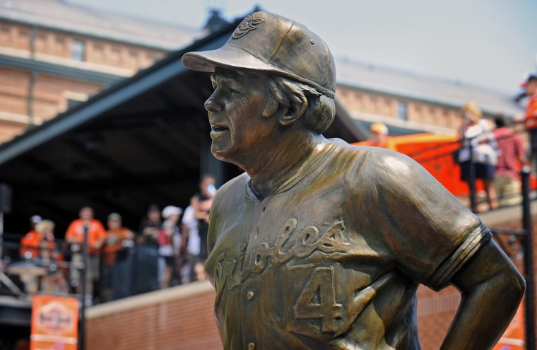 The statue of former Orioles manager Earl Weaver was unveiled at the center-field Legends' garden of Oriole Park at Camden Yards on June 13, 2012. (Kenneth K. Lam/Baltimore Sun)