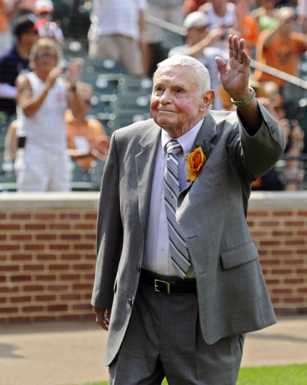 Former Orioles manager Earl Weaver waves to the crowd during pre-game ceremony in which he was presented a miniature version of his statue on June 13, 2012. (Kenneth K. Lam/Baltimore Sun)