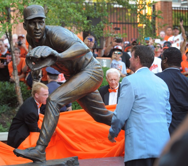 Shown is the unveiling of the bronze sculpture of Cal Ripken, Jr on Sept. 6, 2012. (Gene Sweeney Jr./Baltimore Sun)