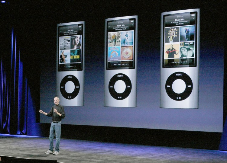 September 9, 2009: Apple CEO Steve Jobs announced the new iPod Nano during a special event in San Francisco, California. (Justin Sullivan/Getty Images)