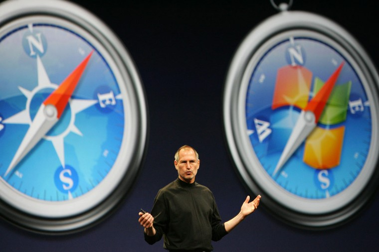 June 11, 2007: Apple Inc. CEO Steve Jobs gives the keynote address on the opening day of the Apple Worldwide Developers Conference 2007 (WWDC 07) at the Moscone Center West in San Francisco, California. (Robyn Beck/AFP/Getty Images)