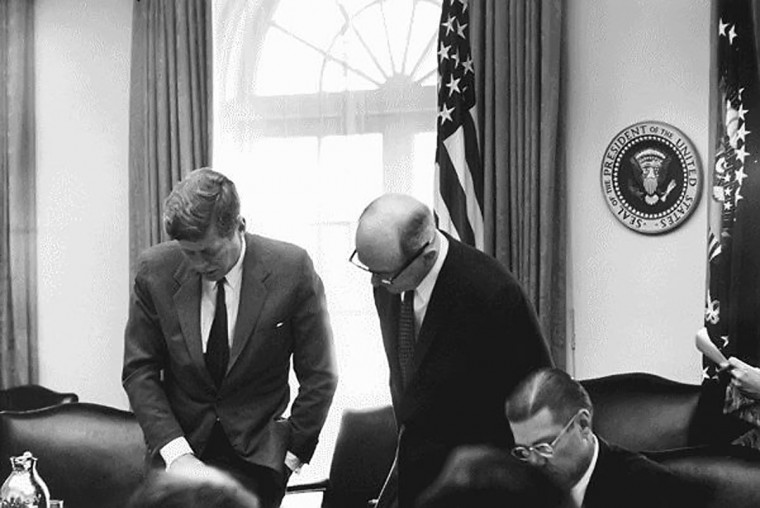 U.S. President John F. Kennedy meets with Secretary of State Dean Rusk and Secretary of Defense Robert McNamara in the Cabinet Room of the White House on October 29, 1962. It has been 50 years since a stand off between the United States and Russia over missiles in Cuba pushed the world to the brink of nuclear war. (National Archives/MCT)