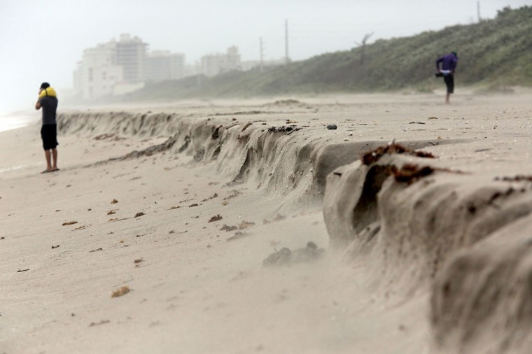 October 26, 2012: Beach erosion is visible on Juno Beach near the pier Friday as Hurricane Sandy moves toward U.S. East Coast. (Lannis Waters/Palm Beach Post/MCT)