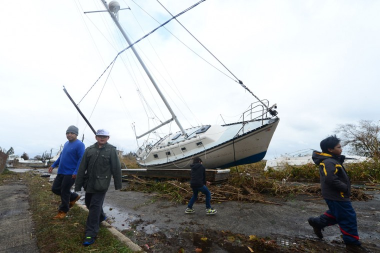 October 30, 2012: A sailboat is beached in Long Beach in the aftermath of Hurricane Sandy, in Long Beach, New York, Tuesday. (Alejandra Villa/Newsday/MCT)