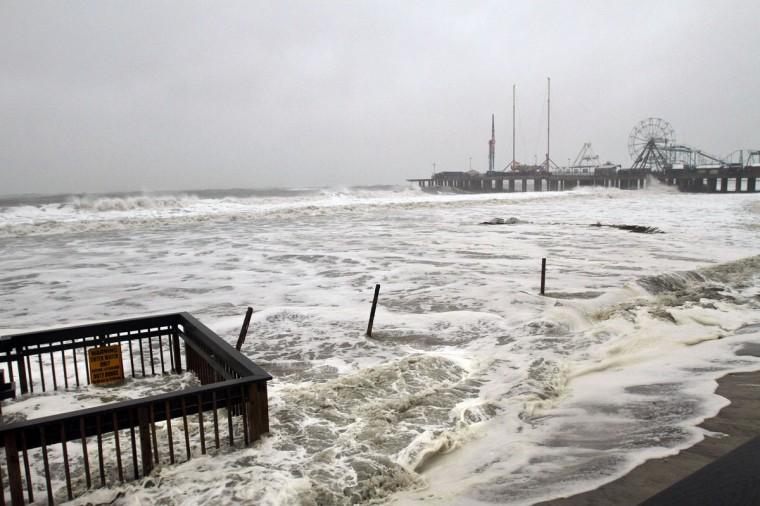 October 29, 2012: Waves crash next to the Atlantic City Boardwalk, already advancing past the beach, as Hurricane Sandy approaches Atlantic City on Monday. (Michael S. Wirtz/Philadelphia Inquirer/MCT)
