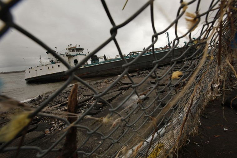 October 30, 2012: On Staten Island, New York, a large ship is grounded on Front Street, Tuesday after Hurricane Sandy caused major damage to New York City and surrounding areas. (Carolyn Cole/Los Angeles Times/MCT)