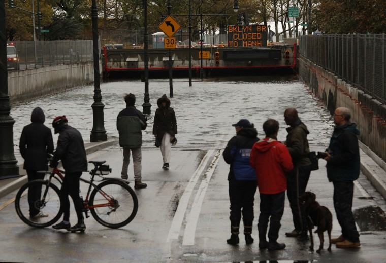 October 30, 2012: The Battery Park Underpass was completely flooded by the storm, Tuesday. (Carolyn Cole/Los Angeles Times/MCT)