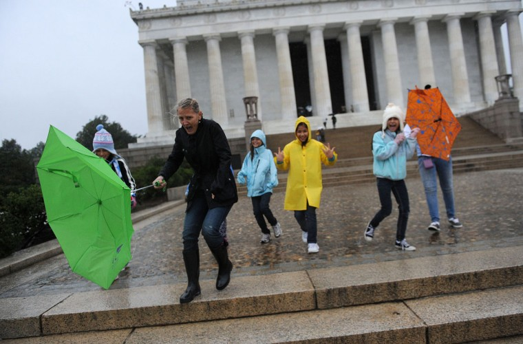 October 29, 2012: Tourists fight the high winds and rain from Hurricane Sandy, Monday at the Lincoln Memorial in Washington, D.C. (Olivier Douliery/Abaca Press/MCT)