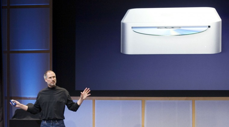 February, 28, 2006: Apple CEO Steve Jobs introduces a new Mac Mini with Intel Core Duo processor desktop computer during a special Apple event in Cupertino, California. (Peter DaSilva/Getty Images)