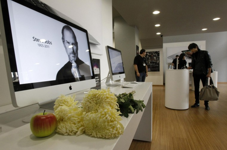 October 6, 2011: A screen shows a portrait of Apple founder and former CEO Steve Jobs, which is on display inside an Apple store, in central Moscow. (Sergei Karpukhin/Reuters)
