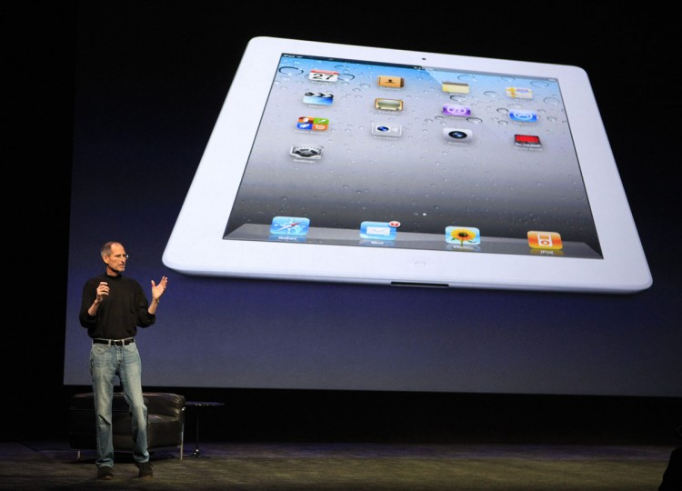 March 2, 2011: Apple Inc. CEO Steve Jobs introduces the iPad 2 on stage during an Apple event in San Francisco, California. Jobs took the stage to a standing ovation returning to the spotlight after a brief medical absence to unveil the second version of the iPad. (Beck Diefenbach/Reuters)