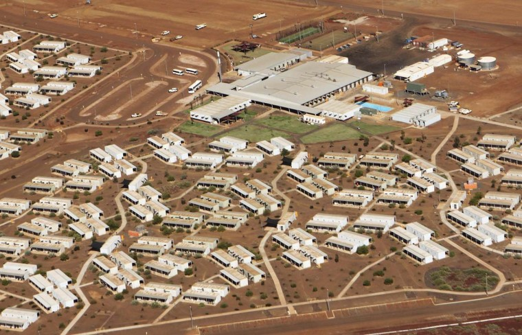 Aerial view of the Citic Pacific iron ore mine workers camp, controlled by controversial billionaire Clive Palmer, in Karratha, Western Australia, in this August 20, 2012 photo. Australia faces a gathering threat to its 21-year run of recession-free growth that will likely require the central bank to cut interest rates to record lows and keep them there for some time, if the winning streak is to stretch to 22. (Jim Reagan/Reuters)