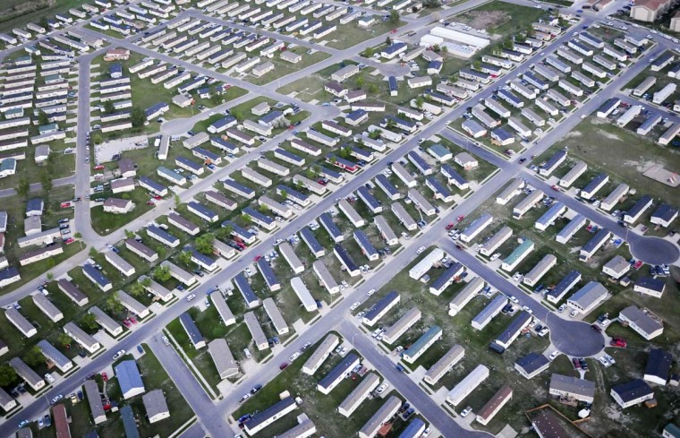 Rows of trailers used as housing for oil workers are seen in this aerial photo in Williston, North Dakota in this picture taken May 17, 2012. (Ben Garvin/Reuters)
