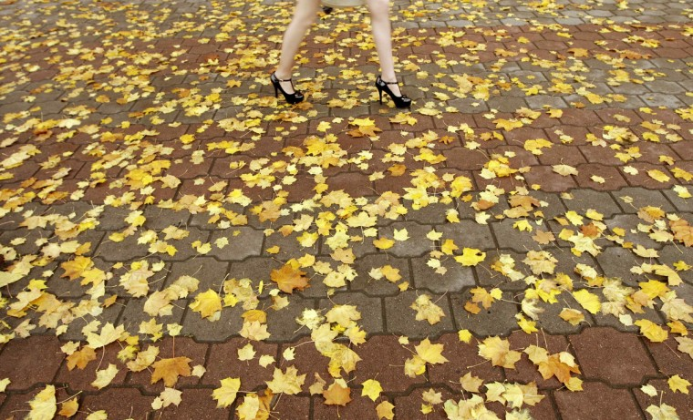 A woman walks on a pavement covered with autumn leaves in central Minsk. (Vasily Fedosenko/Reuters)