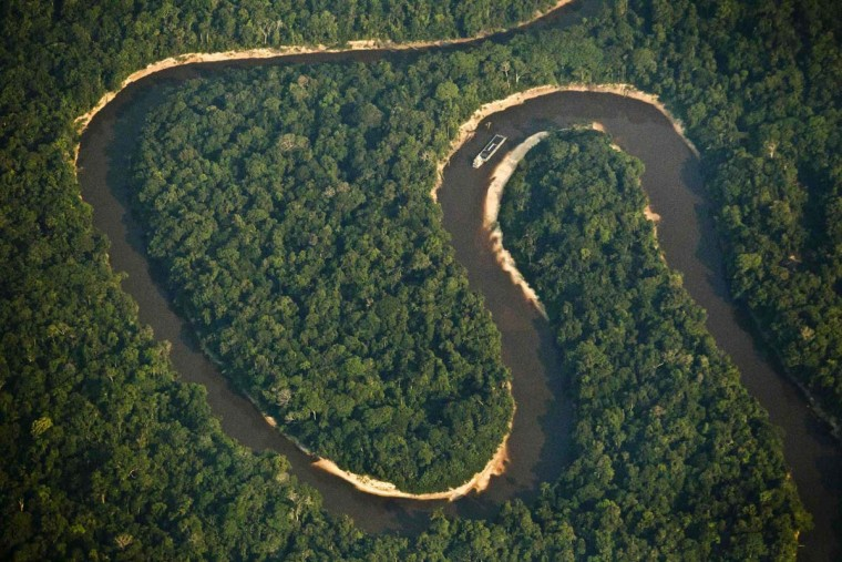 An aerial view of the Jurua River, a major tributary of the Amazon and one of the habitats of the Pirarucu, the largest freshwater fish in South America, September 1, 2012. (Bruno Kelly/Reuters)
