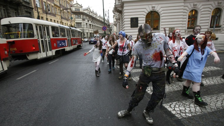 Enthusiasts dressed as zombies take part in a Zombie Walk procession in Prague on May 5, 2012. (David W Cerny/Reuters)