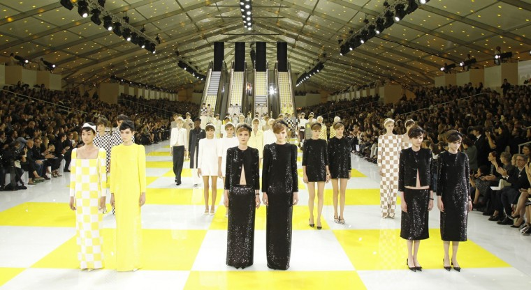 Models present creations by U.S. designer Marc Jacobs as part of his Spring/Summer 2013 women's ready-to-wear fashion show for French fashion house Louis Vuitton during Paris fashion week. (Benoit Tessier/Reuters)