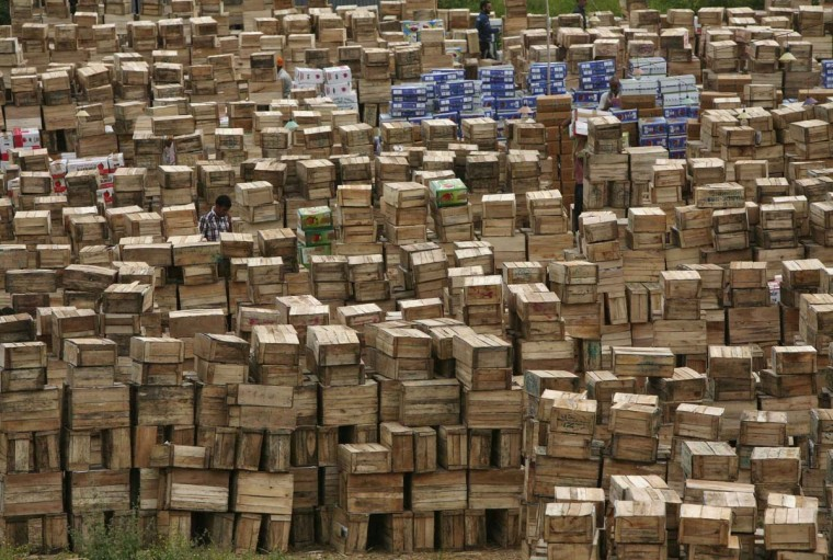 A trader inspects boxes of apples stacked at a wholesale fruit market on the outskirts of Jammu October 15, 2012. India's wholesale price index (WPI) rose a faster-than-expected 7.81 percent in September from a year earlier, mainly driven by higher fuel prices, government data showed on Monday. (Mukesh Gupta/Reuters)