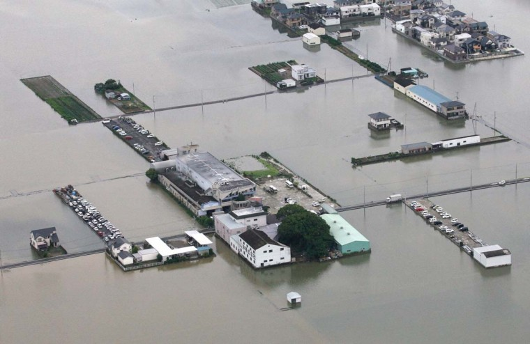 An aerial view of flooded roads and rice paddies in Wakayama, western Japan June 22, 2012, after heavy rain hit the western Japanese city. (Kyodo/Reuters)