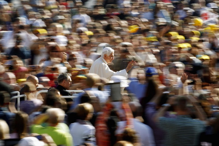 Pope Benedict XVI arrives to lead the Wednesday general audience in Saint Peter's square at the Vatican. (Giampiero Sposito/Reuters)