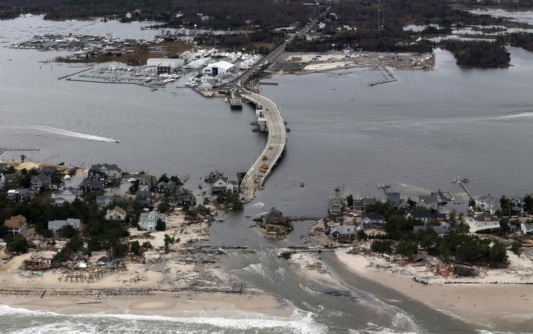 An aerial view of the damage around Mantoloking, New Jersey is seen in the aftermath of Hurricane Sandy. (Doug Mills/Getty Images)
