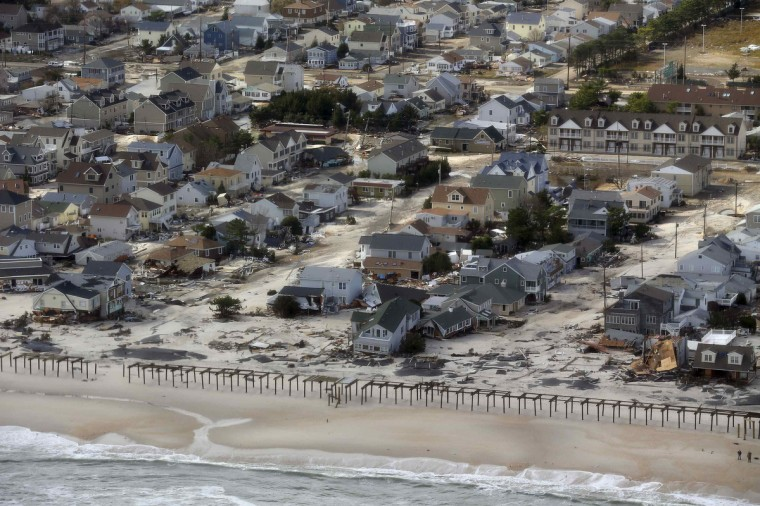 An aerial view of the damage around Atlantic City, New Jersey is seen in the aftermath of Hurricane Sandy. (Doug Mills/Getty Images)