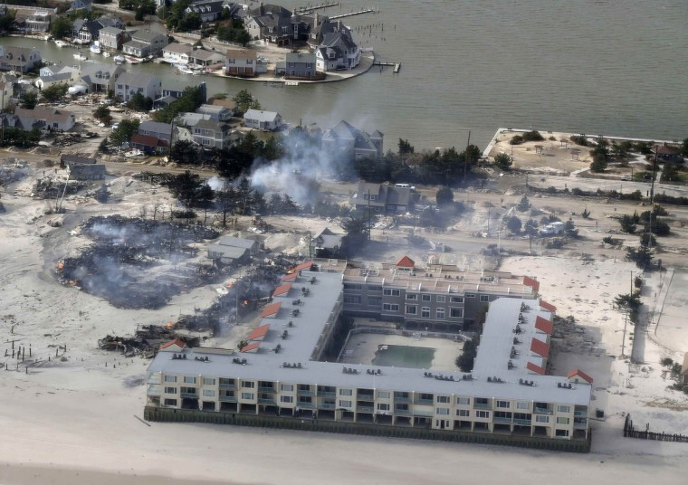 An aerial view of the damage around Seaside Heights, New Jersey is seen in the aftermath of Hurricane Sandy. (Doug Mills/Getty Images)