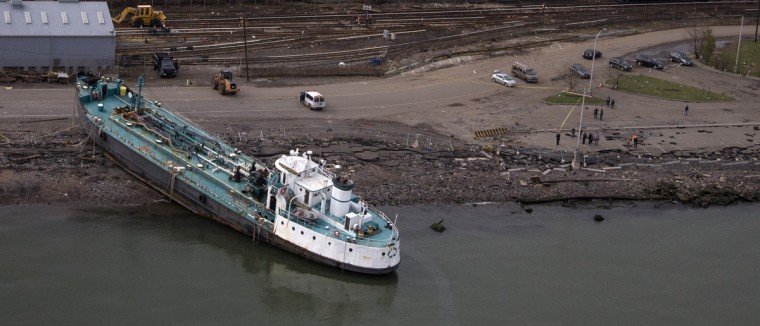 The John B. Caddell, a 700-ton water tanker, is seen grounded in this aerial photo in New York. The 167-foot tanker ran aground Monday night from the storm surge caused by Hurricane Sandy. (Adrees Latif/Reuters)