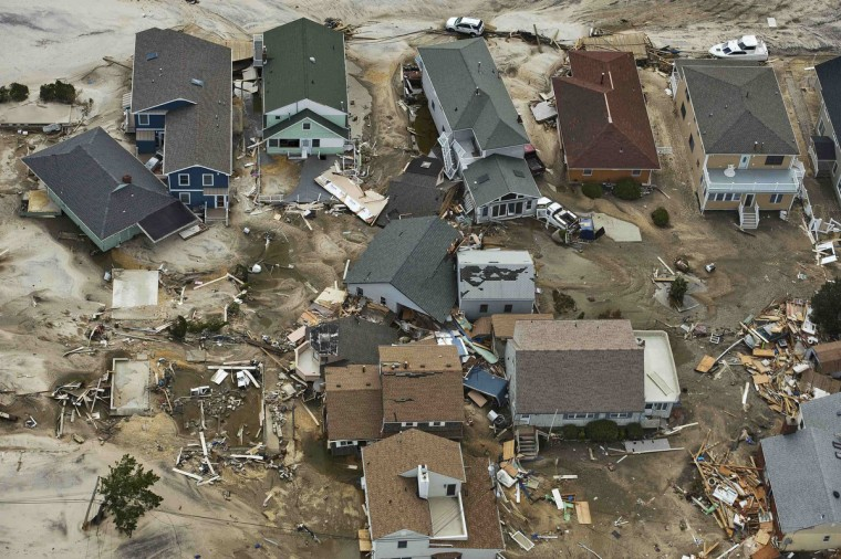 Destroyed homes are seen among partially damaged houses where Hurricane Sandy came ashore in Seaside Heights, New Jersey. (Steve Nesius/Reuters)