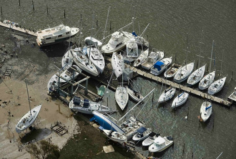 Sailboats are seen in a jumble at a marina dock where Hurricane Sandy came ashore near Monmouth Beach, New Jersey. (Steve Nesius/Reuters)