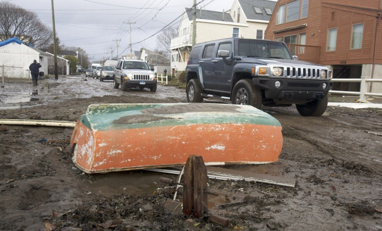 October 30, 2012: Debris litters the streets left behind by Hurricane Sandy in Milford, Connecticut. (Michelle McLoughlin/Reuters)