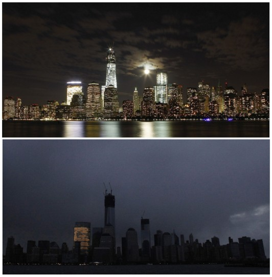 The skyline of New York is pictured at night on October 1, 2012, (top), and pictured in darkness in the early morning hours of October 30, 2012, in this combination photo. (Gary Hershorn/Eduardo Munoz/Reuters)
