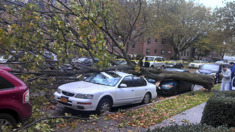 October 29, 2012: Damaged cars sit under a fallen tree from high winds in the Queens borough of New York. (Lenwood Gibson/Handout/Reuters)