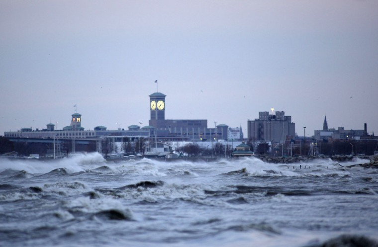 October, 30, 2012: Large surf batters the Milwaukee coastline from the long reaching effects from hurricane Sandy, Milwaukee Wisconsin. (Darren Hauck/Reuters)