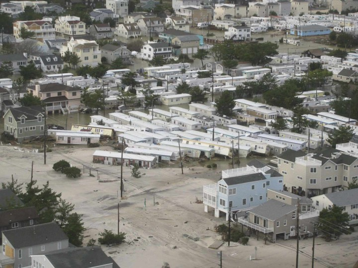 October 30, 2012: Homes are displaced after Hurricane Sandy made landfall on the southern New Jersey coastline in this U.S. Coast Guard handout photo in Brigantine, New Jersey. (U.S.Coast Guard/Handout/Reuters)