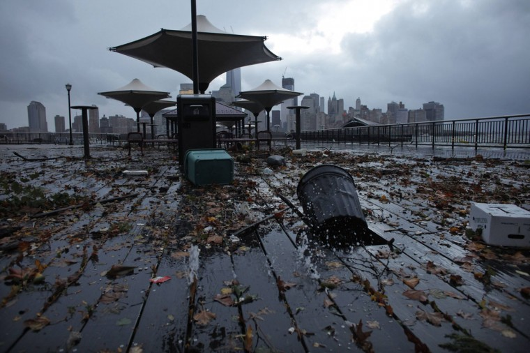 October 30, 2012: Debris litters the floor of Exchange Place in New Jersey following Hurricane Sandy. The giant storm Sandy wreaked havoc on the New York City subway system, flooding tunnels, garages and rail yards and threatening to paralyze the nation's largest mass-transit system for days. (Eduardo Munoz/Reuters)