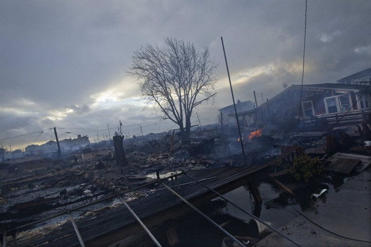 October 30, 2012: Homes devastated by fire and the effects of Hurricane Sandy are seen the Breezy Point section of the Queens borough of New York. (Shannon Stapleton/Reuters)