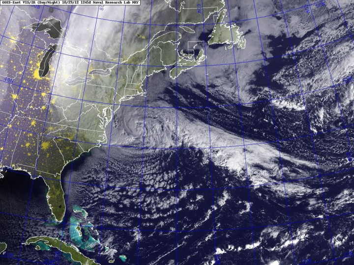 October 29, 2012: Hurricane Sandy is seen moving towards the east coast of the United States in this satellite image courtesy of the U.S. Naval Research Laboratory. (GOES/Naval Research Laboratory/Handout/Reuters)