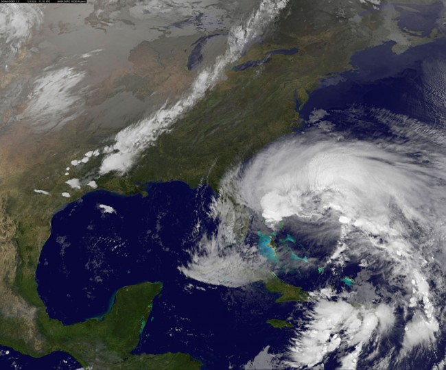 October 26, 2012: Hurricane Sandy is seen churning towards the United States in this NASA handout satellite image. (NOAA/NASA/GOES/Handout/Reuters)