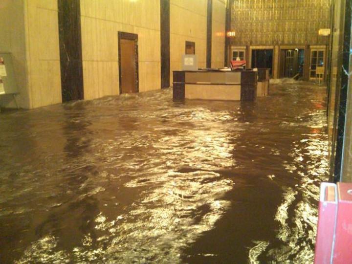 October 29, 2012: The lobby of Verizon's Corporate headquarters in Manhattan is shown underwater in this handout photo supplied by Verizon in New York Tuesday. The headquarter houses executive offices as well as some of the company's key telecom equipment that supports services to New York's financial district and many other customers in Manhattan. The water has receded since then, a Verizon spokesman said. (Verizon/Handout/Reuters)