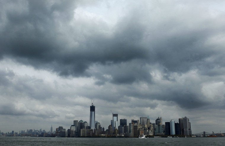 Clouds gather over New York as Hurricane Sandy approaches the eastern United States. (Carlo Allegri/Reuters)