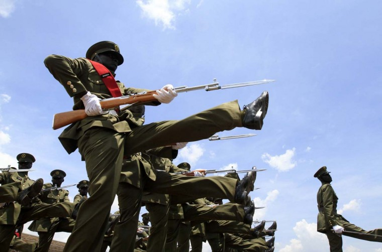 Ugandan soldiers parade during celebrations to mark the country's 50th anniversary since gaining independence from the British rule in capital Kampala October 9, 2012. (James Akena/Reuters)