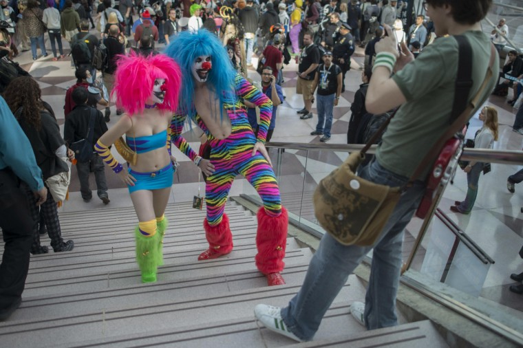 Costumed participants are photographed during Comic Con at the Jacob Javitz Center in New York. (Keith Bedford/Reuters)