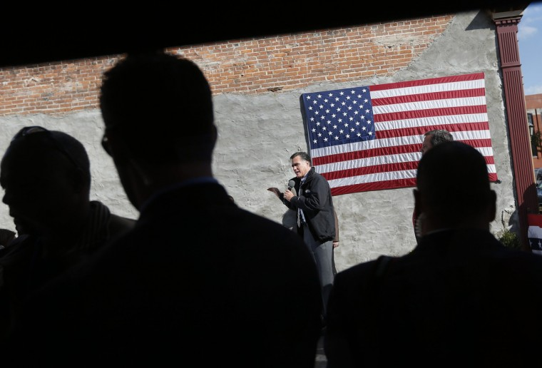 Republican presidential nominee Mitt Romney speaks during a campaign stop at Bun's Restaurant in Delaware, Ohio. (Shannon Stapleton/Reuters)