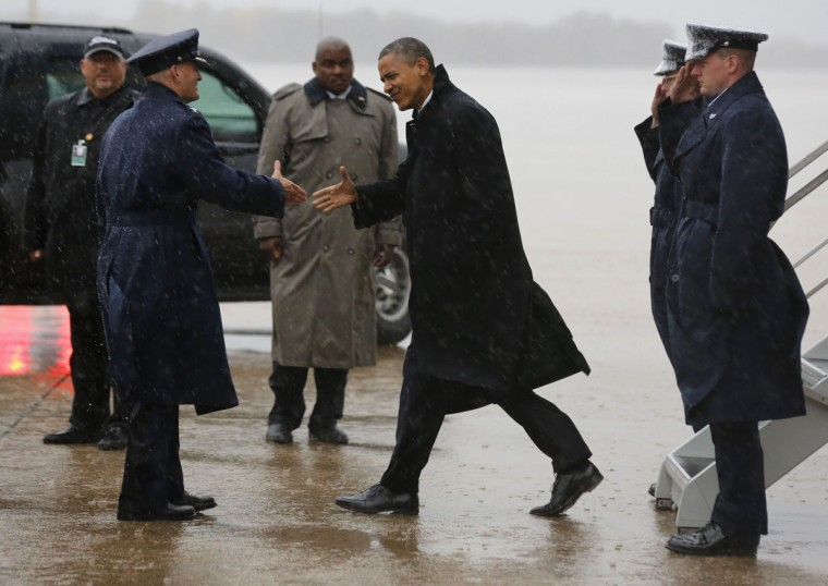 October 29, 2012: U.S. President Barack Obama arrives at Joint Base Andrews outside Washington after cancelling a campaign event in Florida due to bad weather in the Washington area. Obama canceled campaign events in Florida and Wisconsin to return to Washington on Monday and monitor the impact and response to Hurricane Sandy, the White House said. (Larry Downing/Reuters)