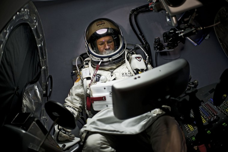 October 6, 2012: Austrian extreme sportsman Felix Baumgartner goes through dress rehearsal at Red Bull Stratos mission headquarters in Roswell, New Mexico. (Red Bull Stratos/Joerg Mitter/Handout/Reuters)