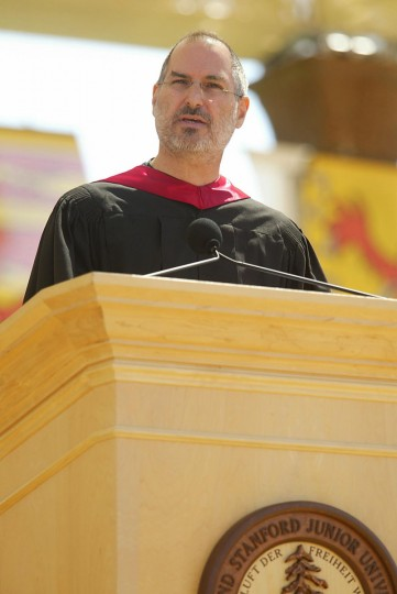 June 12, 2005: Apple Computers Inc. CEO Steve Jobs speaks at graduation ceremonies at Stanford University, in Palo Alto, California. (Jack Arent/Palo Alto Daily News/AP Photo)